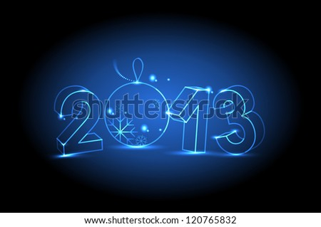 New year 2013 on dark background - stock vector
