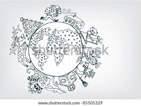 New Year  On The Planet - stock vector