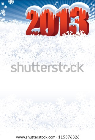 New Year 2013 on white winter background for your message - stock vector