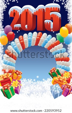 New Year 2015 on white winter background with balloons and gifts  - stock vector
