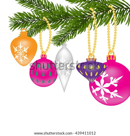 New Year or Christmas background. Fir tree branch with toys of different shapes with the pattern. Vector illustration