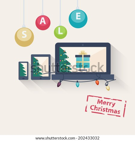 New year or Christmas online sale concept with a vector illustration of gifts on the screens of a laptop, tablet and smartphone with the text - Merry Christmas - below and hanging baubles - stock vector