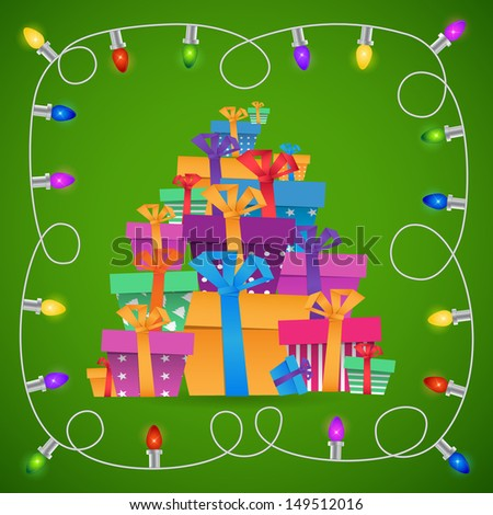 New year origami paper gift boxes 2014 celebration card with garland frame