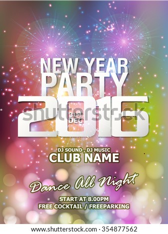 New Year Party backgrounds design /  Flyer, Banner or Pamphlet for Happy New Year's 2016 Eve Party design