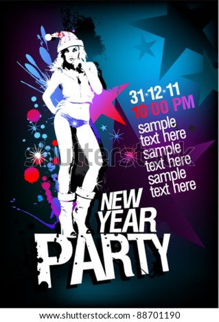 New Year Party design template with fashion girl and place for text. - stock vector