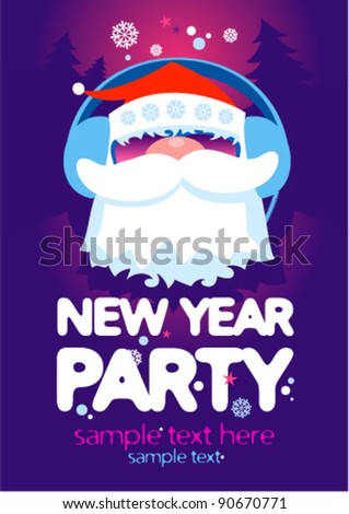 New Year Party design template with Santa and place for text. - stock vector