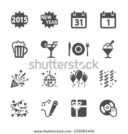 new year party icon set 4, vector eps10. - stock vector