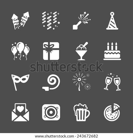 new year party icon set 6, vector eps10. - stock vector