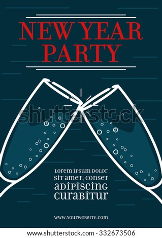 New Year Party Poster Template, Greeting, Background, Line Style Vector Illustration