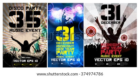 New year party, poster, vector  - stock vector