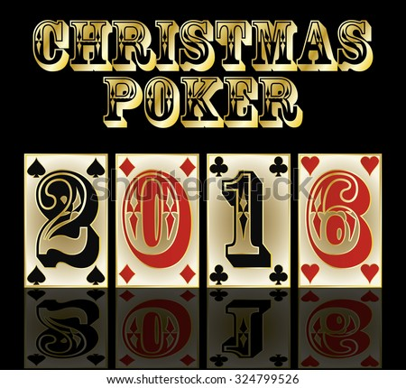 New 2016 year poker cards banner, vector illustration