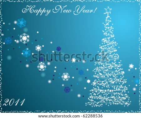 New Year postcard - stock vector