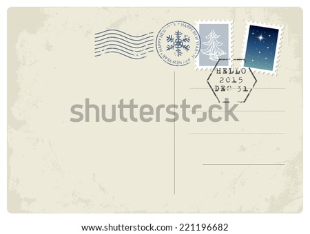 New Year postcard. Happy New Year and Hello2015 on the stamp. - stock vector
