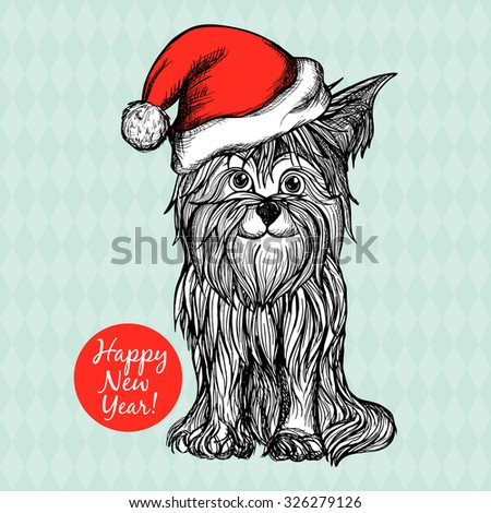 New year postcard with dog in red santa claus hat hand drawn vector illustration - stock vector