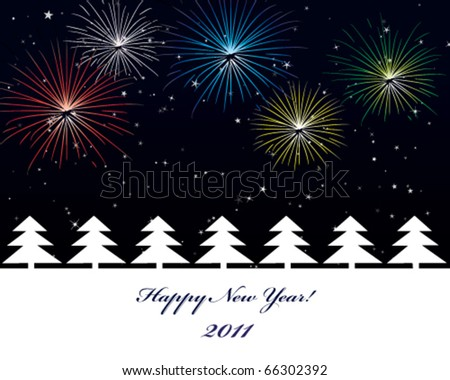 New Year postcard with fireworks - stock vector