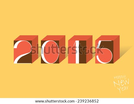 New Year poster with geometric elements / New Year poster with HAPPY NEW YEAR 2015 inscription / Typographic vector illustration - stock vector