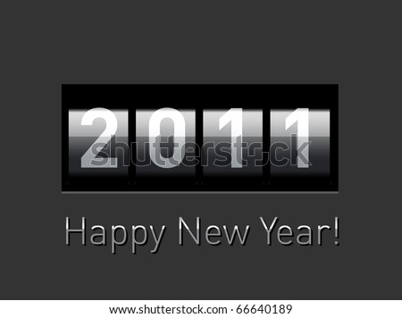 New Year realistic metallic counter - stock vector