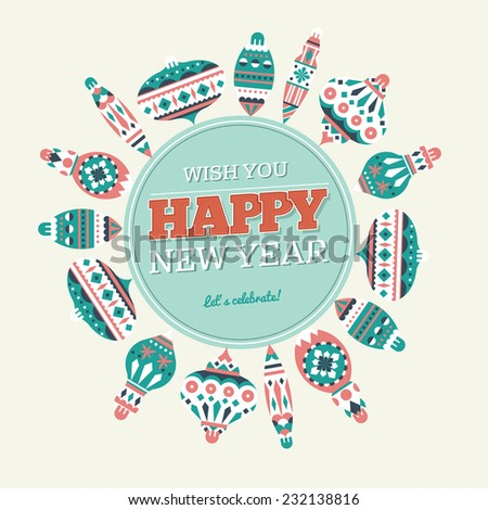 New Year Retro Round Composition Card - stock vector