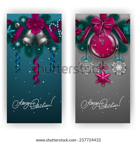 New Year's background - a garland of fir branches, clock, bell, holly berries, lollipops, serpentine, gift for greeting card, invitation. Christmas festive background. Vector illustration EPS10. - stock vector