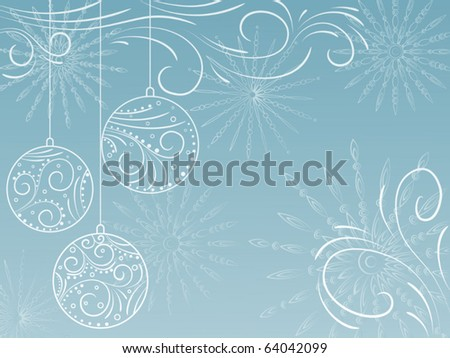 New Year's background with snowflakes and balls. Vector illustration.