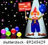 New Year's card. Clown with poster and balloon. 10 EPS. Vector illustration. - stock photo