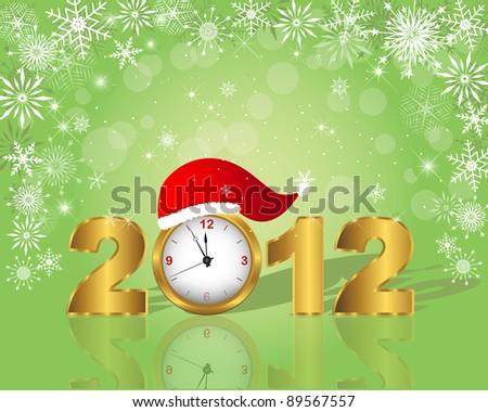 New Year's card. Golden figure 2012 with clock in cap. 10 EPS. Vector illustration.