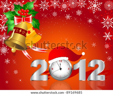 New Year's card. Silver figure 2012 with clock and handbells. 10 EPS. Vector illustration.