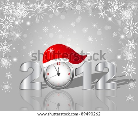 New Year's card. Silver figure 2012 with clock in cap. 10 EPS. Vector illustration. - stock vector
