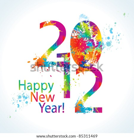 New Year's card 2012 with colorful drops and sprays on a white background. Vector illustration. - stock vector