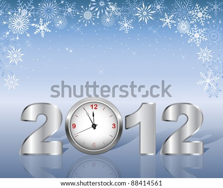 New Year's card with silver figure 2012 and clock. 10 EPS. Vector illustration. - stock vector