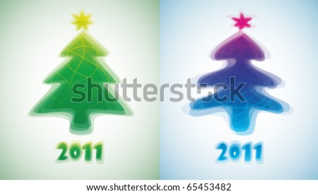 New Year's cards. Abstract Christmas trees. - stock vector