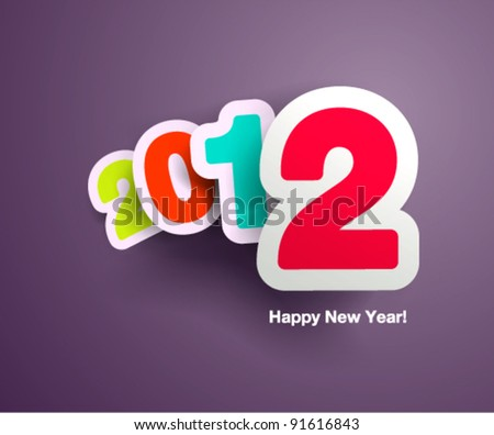 New Year`s celebration design with vivid floating numbers - stock vector