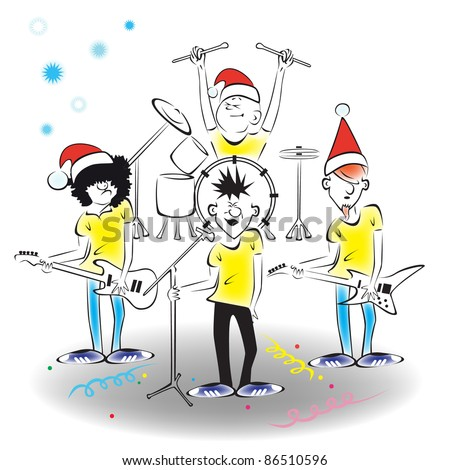 New Year's concert of the musical group on stage. - stock vector