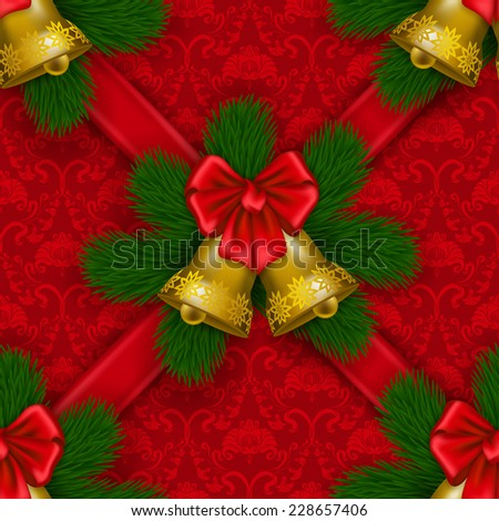 New Year's festive seamless background with ornate damask pattern, ribbons, christmas tree, bow, bells. Vector illustration EPS 10. - stock vector