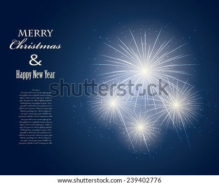 new year's fireworks postcard - stock vector