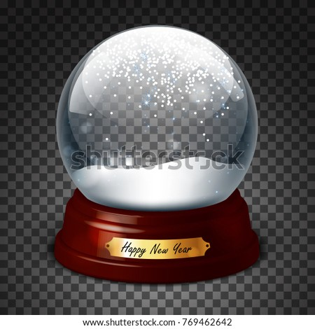 New Year's gift. Transparent sphere with and snow. Highly realistic illustration.