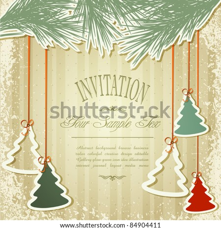 New Year's holiday background with hanging herringbone - stock vector