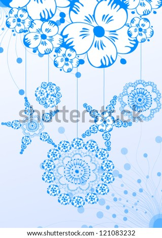 New Year's patterns on a blue background - stock vector