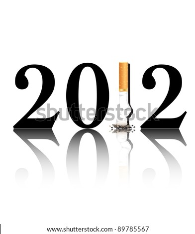 New Year's resolution Quit Smoking concept with the i in 2012 being replaced by a stubbed out cigarette. EPS10 vector format. - stock vector