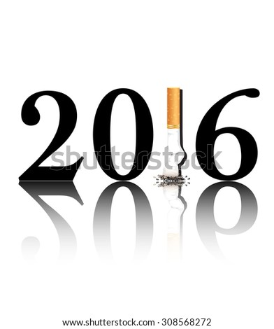 New Year's resolution Quit Smoking concept with the 1 in 2016 being replaced by a stubbed out cigarette. EPS10 vector format. - stock vector