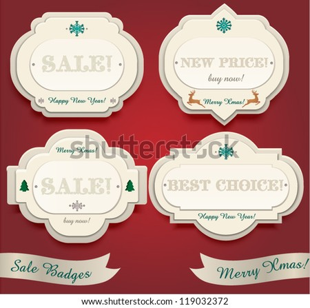New Year's Sale Badges - stock vector