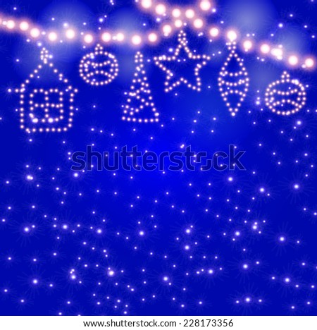 New Year's toys glowing lights on the garland on the background with sparks. EPS 10 - stock vector