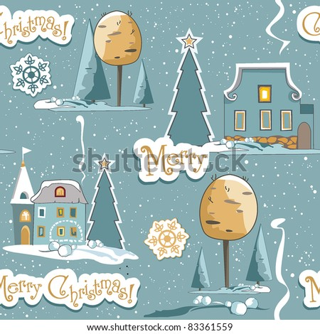 New-Year's winter background with Christmas tree. Seamless texture with houses and snow. Vector illustration contains the image of winter landscape.