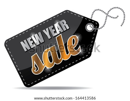 New Year sales tag. EPS 10 vector, grouped for easy editing. No open shapes or paths. - stock vector