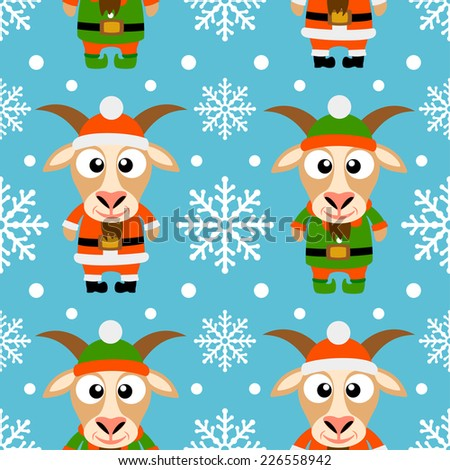 New Year seamless card with funny goat santa claus and goat elf  - stock vector