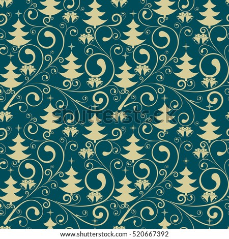 new year seamless ornate pattern vector ornament with christmas tree and bells wrapping or - Christmas Tree Cover