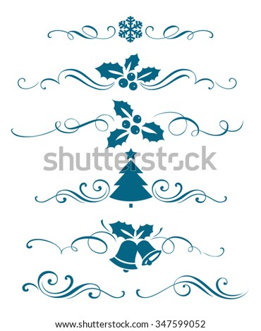 New year set of decorative calligraphic elements. Winter ornaments and christmas decorations - stock vector