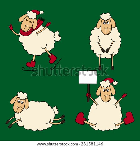 New year set of the four sheeps and lambs on a green background. Vector clip-art. - stock vector