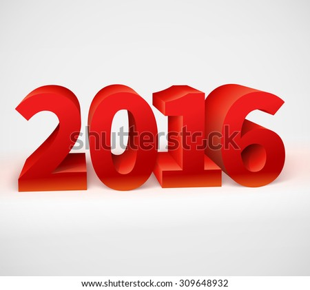 New year 2016 shiny 3d red text. Vector illustration