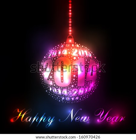 New Year 2014 Sparkling Rainbow Ornament Design (EPS10 Vector)  - stock vector